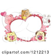 Cartoon Of A Heart Frame With Cute Chubby Animals Royalty Free Vector Clipart