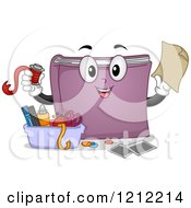 Cartoon Of A Scrapbook Mascot With Supplies Royalty Free Vector Clipart