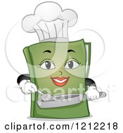 Cartoon Of A Green Female Chef Book Cooking Royalty Free Vector Clipart by BNP Design Studio