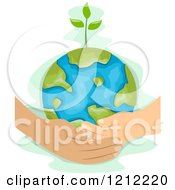 Cartoon Of A Man And Childs Hands Holding A Sprouting Earth Globe Royalty Free Vector Clipart