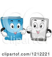 Cartoon Of A Book And Computer Tablet Mascot Talking Royalty Free Vector Clipart