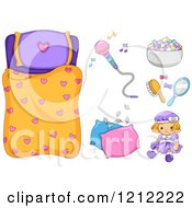 Cartoon Of A Girls Heart Sleeping Bag And Slumber Party Items Royalty Free Vector Clipart