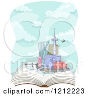 Cartoon Of A Plane Flying Over An Urban Cityscape On An Open Book Royalty Free Vector Clipart