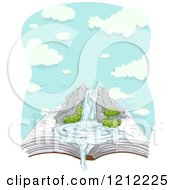 Cartoon Of A Large Waterfall On An Open Book Over Clouds Royalty Free Vector Clipart