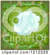 Cartoon Of A Circle Of Trees And Blue Sky Royalty Free Vector Clipart by BNP Design Studio