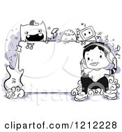 Cartoon Of A Music Monster And Boy Doodle Frame With Instruments And Purple Royalty Free Vector Clipart by BNP Design Studio