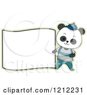 Cartoon Of A Male Student Panda With A Blank Label Royalty Free Vector Clipart