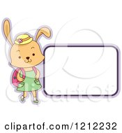 Female Student Rabbit With A Blank Label
