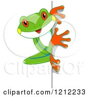 Cartoon Of A Cute Tree Frog Looking Around A Corner Royalty Free Vector Clipart by BNP Design Studio