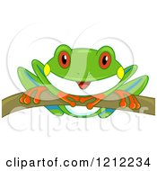 Cartoon Of A Cute Curious Tree Frog On A Branch Royalty Free Vector Clipart by BNP Design Studio