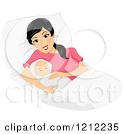Cartoon Of A Happy Black Haired New Mom Laying With Her Newborn Baby Royalty Free Vector Clipart