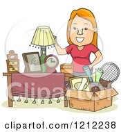 Cartoon Of A Happy Woman Standing By A Box Full Of Items Royalty Free Vector Clipart