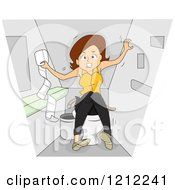 Cartoon Of A Woman With Irritable Bowl Syndrome Royalty Free Vector Clipart by BNP Design Studio