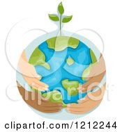 Sprouting Earth Globe Being Held By Diverse Hands