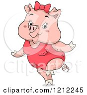 Cute Female Piggy Wearing A Swimsuit