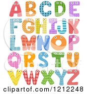 Cartoon Of Colorful Patterned Capital Letters With Eyes Royalty Free Vector Clipart