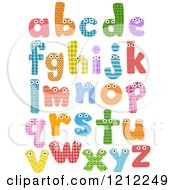 Cartoon Of Colorful Patterned Lowercase Letters With Eyes Royalty Free Vector Clipart