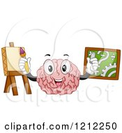 Cartoon Of A Brain Mascot Demonstrating The Functions Of The Left And Right Portions Royalty Free Vector Clipart