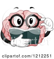 Cartoon Of A Brain Mascot Touching His Glasses And Reading A Book Royalty Free Vector Clipart