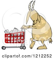 Cartoon Of A Goat Pushing A Shopping Cart Full Of Cans Royalty Free Vector Clipart