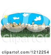 Cartoon Of A Flock Of Sheep And Goats In Tall Grass On A Sunny Day Royalty Free Clipart