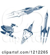 Clipart Of Retro Blue Space Rockets Royalty Free Vector Illustration