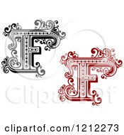 Clipart Of A Black And White And Red Vintage Letter F Royalty Free Vector Illustration