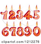 Clipart Of Burning Birthday Number Candles Royalty Free Vector Illustration