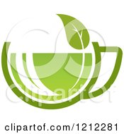 Cup Of Green Tea Or Coffee And A Leaf 6