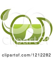 Clipart Of A Pot Of Green Tea With Leaves 9 Royalty Free Vector Illustration