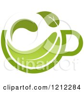 Clipart Of A Cup Of Green Tea Or Coffee And A Leaf 8 Royalty Free Vector Illustration