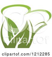 Clipart Of A Pot Of Green Tea With Leaves 10 Royalty Free Vector Illustration