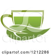 Clipart Of A Cup Of Green Tea Or Coffee And A Leaf 9 Royalty Free Vector Illustration by Vector Tradition SM