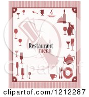 Clipart Of A Striped Restaurant Menu Royalty Free Vector Illustration