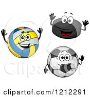 Clipart Of Hockey Puck Volleyball And Soccer Ball Characters Royalty Free Vector Illustration