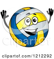 Clipart Of A Happy Volleyball Character Royalty Free Vector Illustration