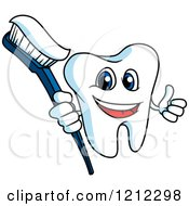Clipart Of A Happy Tooth Character Holding A Thumb Up And Brush Royalty Free Vector Illustration
