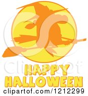 Cartoon Of A Happy Halloween Greetig Under A Silhouetted Flying Witch Over A Full Moon Royalty Free Vector Clipart