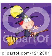 Full Moon And Bats Over A Halloween Witch Girl Waving And Flying On A Broomstick