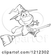 Cartoon Of An Outlined Halloween Witch Girl Waving And Flying On A Broomstick Royalty Free Vector Clipart