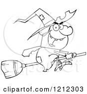 Cartoon Of An Outlined Halloween Witch Flying On A Broomstick Royalty Free Vector Clipart