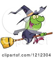 Cartoon Of A Halloween Witch Flying On A Broomstick Royalty Free Vector Clipart by Hit Toon