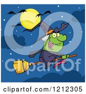 Cartoon Of A Halloween Witch Flying On A Broomstick Under A Full Moon And Bats Royalty Free Vector Clipart by Hit Toon