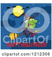 Happy Halloween Greeting Under A Witch Flying On A Broomstick Under A Full Moon And Bats