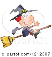 Cartoon Of A Halloween Witch Girl Waving And Flying On A Broomstick Royalty Free Vector Clipart by Hit Toon