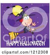 Happy Halloween Greeting Under A Full Moon And Bats Over A Witch Girl Waving And Flying On A Broomstick