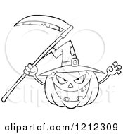 Cartoon Of An Outlined Scary Halloween Pumpkin With A Witch Hat And Scythe Royalty Free Vector Clipart