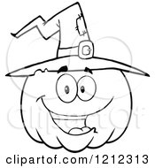 Cartoon Of An Outlined Happy Smiling Halloween Pumpkin Wearing A Witch Hat Royalty Free Vector Clipart
