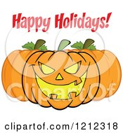Cartoon Of A Happy Holidays Greeting Trio Of Halloween Pumpkins Royalty Free Vector Clipart