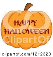 Cartoon Of A Happy Hallowen Greeting On A Pumpkin Royalty Free Vector Clipart